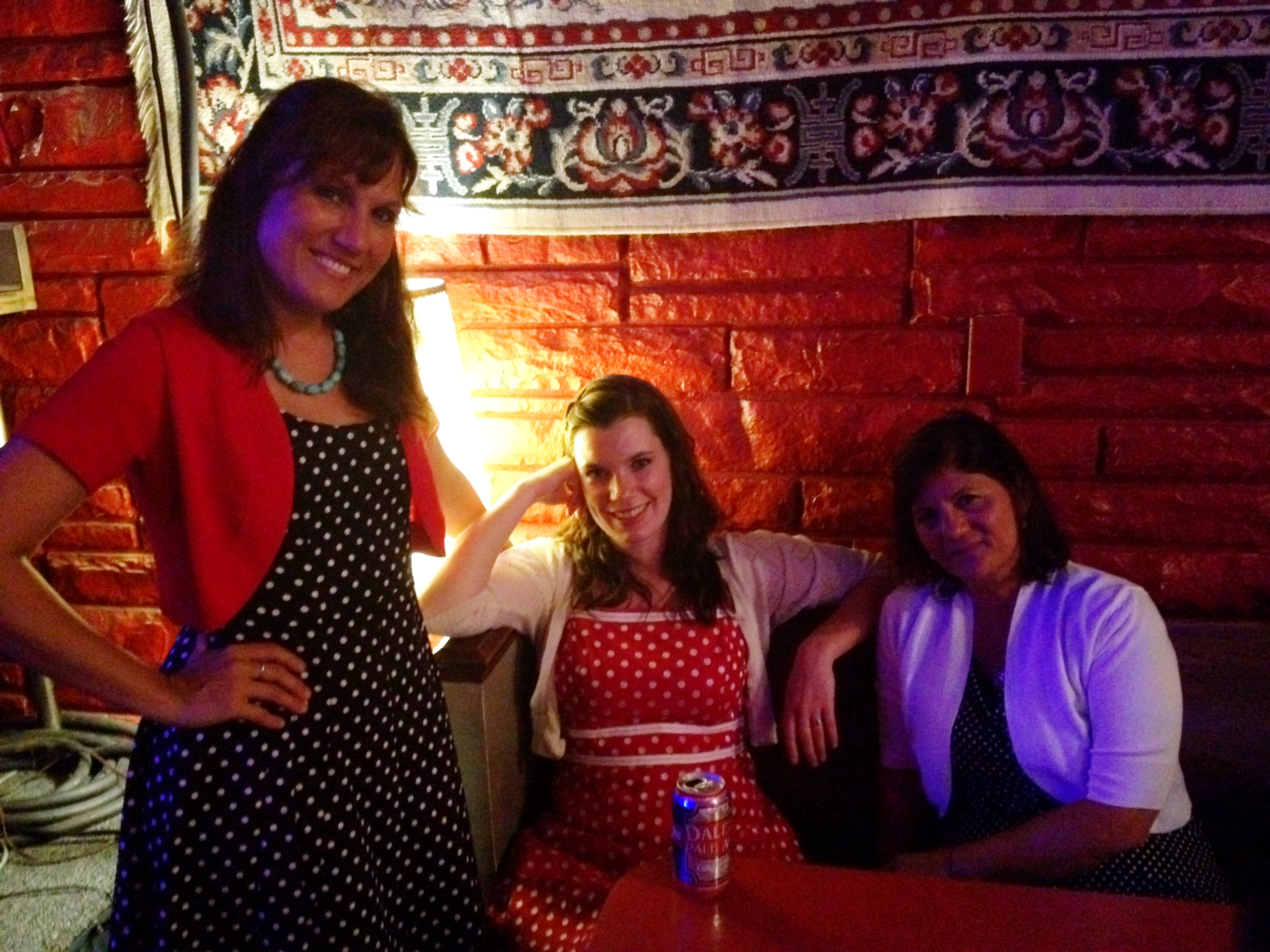Us gals in our polka-dots at the Broad Street Café.