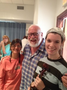 Sara and Carmela at rehearsal, with author Frank Galati.
